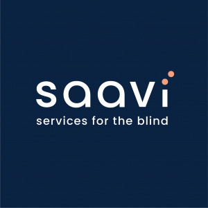 Saavi services for the blind logo uses white text and a square background in the primary color navy blue. Only the dots of the I creating a braille i are in the primary color warm pink.